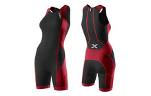 2XU Comp Trisuit Triathlon Kleding Dames W/ Rear Zip rood/zwart